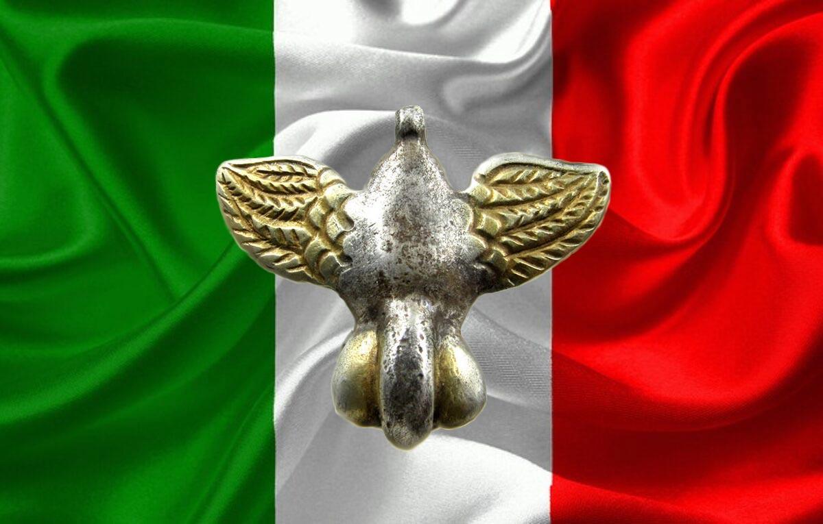 Bandiera italiana con uccello padulo